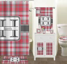 Gray Bathroom Accessories Set by Red U0026 Gray Plaid Bathroom Accessories Set Personalized Potty