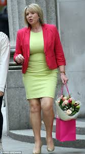 fern britton matches her roses in lime green bodycon dress and