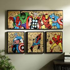 Super Hero Bathroom Set Marvel Superheroes Canvas Art Prints Set Of 4 Canvas Art Prints