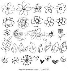 doodle flowers clipart and vectors hand drawn flower and leaf