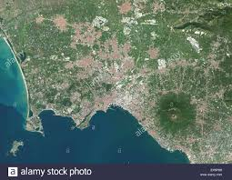 Naples Italy Map Colour Satellite Image Of Naples Italy The Volcano Mount
