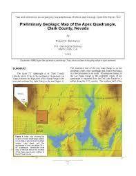 Lake Mead Map Preliminary Geologic Map Of The Apex Quadrangle Clark County