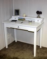 Schreibtisch Schmal Holz Sekretär 100x91x57cm 1 Große 2 Kleine Schubladen Beine Ohne