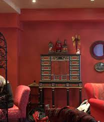 i love this clients home with the distressed watermelon walls and