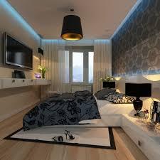 deckenbeleuchtung schlafzimmer kleines schlafzimmer wand dekorieren tapete weiß grau blaue led