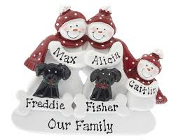 snowman family of 3 with 2 black dogs personalized ornament