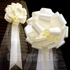 wedding bows large ivory wedding pull bows with tulle tails 9