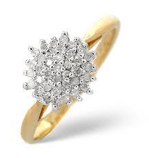 cluster rings cluster ring 0 25ct diamond 9k yellow gold e5362 item e5362