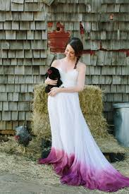 young bride dip dyes her wedding gown to add an elegant splash of