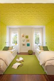 kids bedroom images with awesome yellow wallpaper pattern design