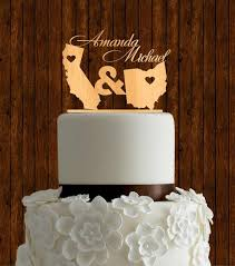 unique wedding cake toppers state cake topper wood cake topper wedding cake topper
