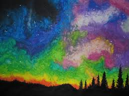 how to paint northern lights northern lights in wax crayon by jackcharrington on deviantart