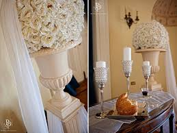Topiary Wedding - ivory floral topiaries for wedding ceremony flowers and decor