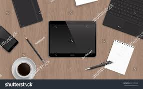 realistic tablet centre wooden table tablet stock illustration
