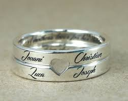engraved stackable mothers rings personalized stackable mothers ring 2mm silver gift for