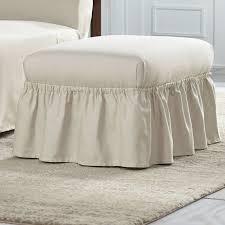 Duck Cotton Slipcovers Serta Cotton Duck Ruffle Ottoman Slipcover U0026 Reviews Wayfair