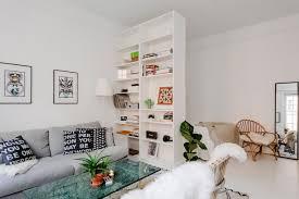 studio apartment with bookcase room divider studio u0026 loft