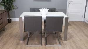 White High Gloss Table Funky Design Quilted Leather Dining Chairs - Funky kitchen tables and chairs
