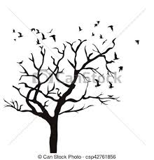 silhouette of a tree without leaves and birds flying clipart vector
