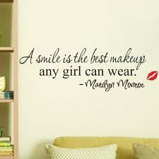 quote to decorate a room a smile is the best makeup quotes wall stickers girls room decor