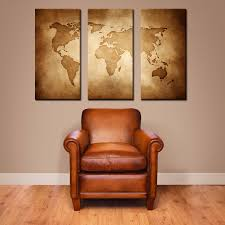 World Map Wall Decor For Elegant Spaces In Your House With Wooden