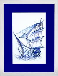 sailing ship modern paper quilled wall art for home decor one