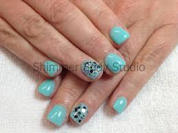 gel nails blue nails short nails glitter nail art by shimmer