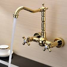 wall mount kitchen faucet ti pvd finish solid brass wall mount centerset kitchen faucet
