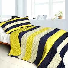Blue And Yellow Duvet Cover Navy Blue Yellow Striped Teen Boy Bedding Full Queen Quilt Set