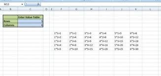 vba macros program to print tables in ms excel sheet