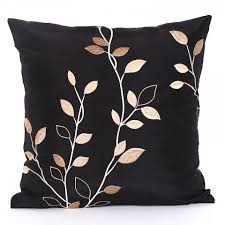 Black Sofa Pillows by Leaves Embroidered Throw Pillows Minimalist Style Black Sofa