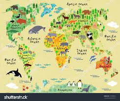 South And North America Map by Cartoon Map North America Continent Riversmountains Stock Vector