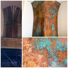 copper rust patina table top with modern master metal effects