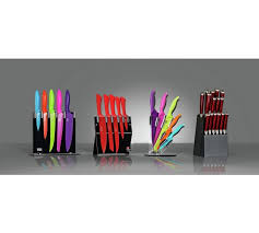 coloured kitchen knives set buy s eye witness 5 coloured knife block at argos co