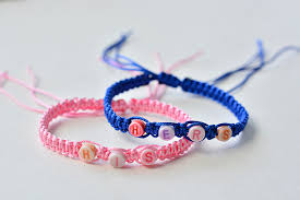 braid bracelet with beads images How to make square knot braided couple bracelet with alphabet jpg
