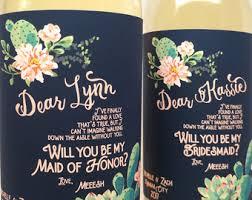 Bridesmaid Asking Gifts Bridesmaids Ask Gift Custom Wine Labels Navy Gray Wedding