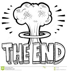 the end mushroom cloud sketch stock vector image 27970896