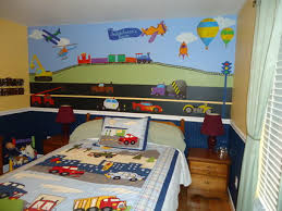 Boys Bedroom Themes by Colorful Train Wall Murals Stickers With Cars Beds Design In Small