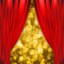 Curtains Show Two Red Curtains Opening The Show Stock Photography Image 35170372