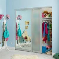 Impact Plus Closet Doors Furniture Sliding Mirror Door With Golden Steel Frame Placed On