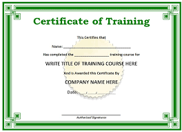training certificate template free download 6 free training