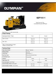 olympian ratings guide generator sets caterpillar horsepower