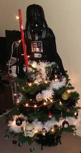 wars tree made as darth vader gets baubles and
