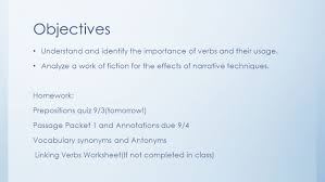 day 8 u2013 verbs and intro to fiction objectives understand and