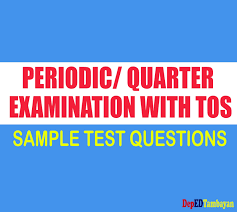 new sy 2017 2018 periodic test questions with table of