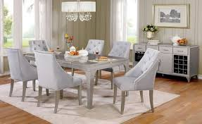 Silver Dining Chairs 7 Pcs Diocles Silver Dining Set W Flannelette Cushion Chairs