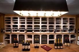 wine cellar of burgundy limestone contemporary wine cellar