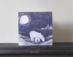 linen prints time polar card