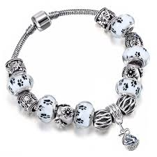 european charm bracelet beads images Paw print european charm bead bracelet top pet gifts jpg