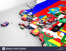 Europe Flags Political Map Of Europe With 3d Texture Flags Illustration Stock